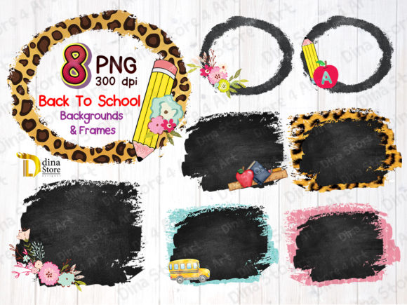 Back to School Backgrounds and Frames Graphic Backgrounds By dina.store4art