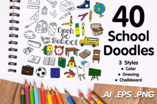 Back to School Doodle Pack - 3 Styles Graphic Illustrations By WADLEN