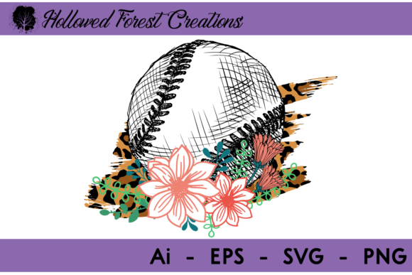 Baseball Floral with Cheetah Graphic Illustrations By hollowedforestcreations