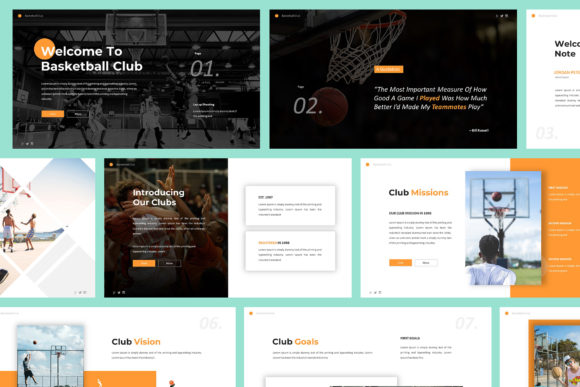 Print on Demand: Basketball Club Powerpoint Template Graphic Presentation Templates By Giant Design