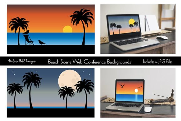 Download Free Beach Web Conference Backgrounds Graphic By Melissa Held Designs for Cricut Explore, Silhouette and other cutting machines.