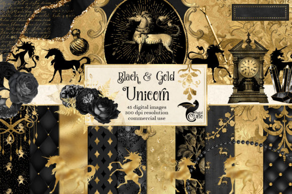 Print on Demand: Black and Gold Unicorn Digital Scrapbook Graphic Illustrations By Digital Curio