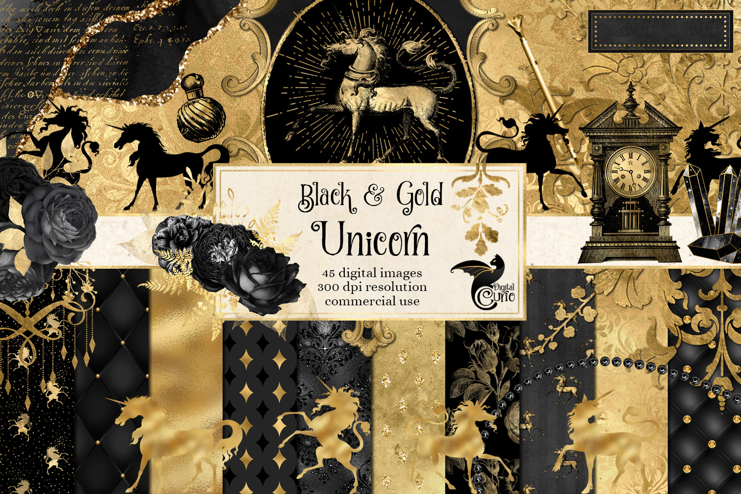 Download Free Black And Gold Unicorn Digital Scrapbook Graphic By Digital for Cricut Explore, Silhouette and other cutting machines.