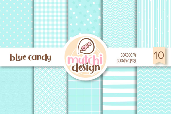 Print on Demand: Blue Candy Color Digital Papers Graphic Backgrounds By Mutchi Design
