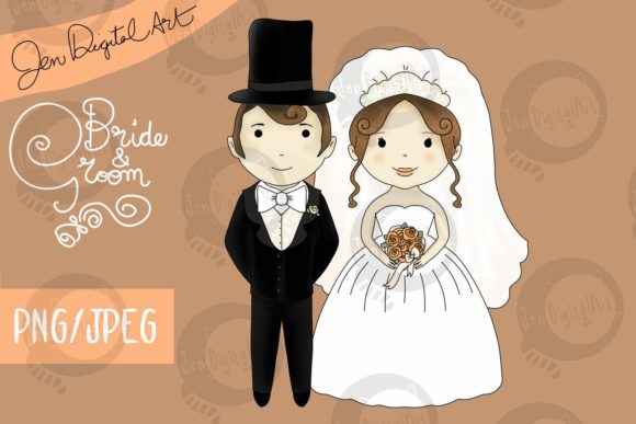 Bride and Groom Wedding Graphic Illustrations By Jen Digital Art