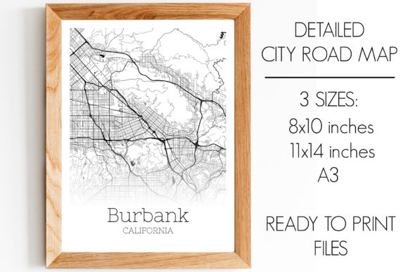 Print on Demand: Burbank California City Map Grafik Fotos von SVGExpress