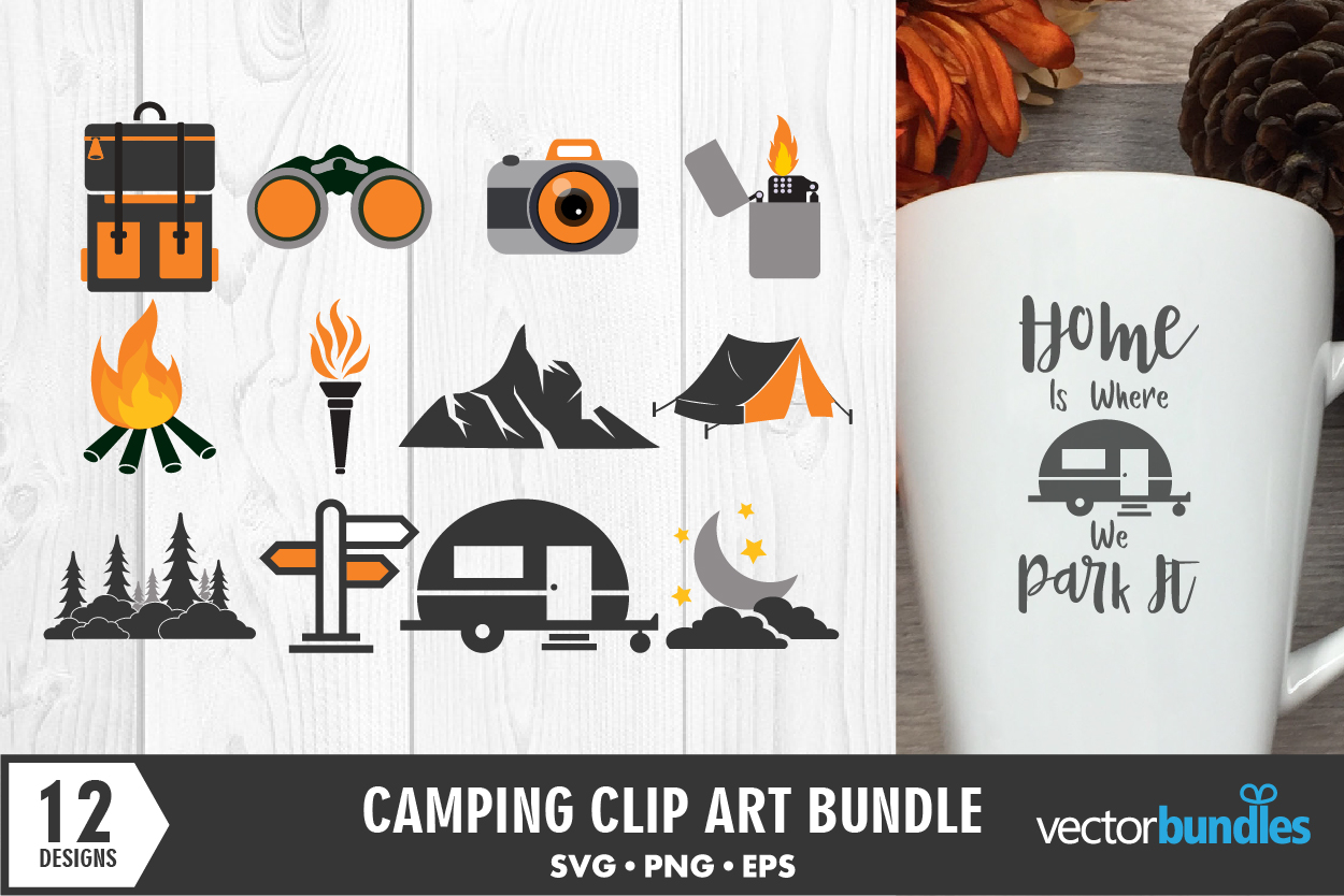 Download Free Camping Clip Art Bundle Of 12 Designs Graphic By Vectorbundles for Cricut Explore, Silhouette and other cutting machines.