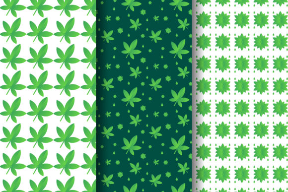 Print on Demand: Cannabis Leaf Pattern Gradient Green Graphic Patterns By noory.shopper
