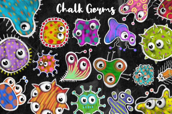 Print on Demand: Cartoon Doodle Chalk Board Virus Clipart Graphic Illustrations By Prawny