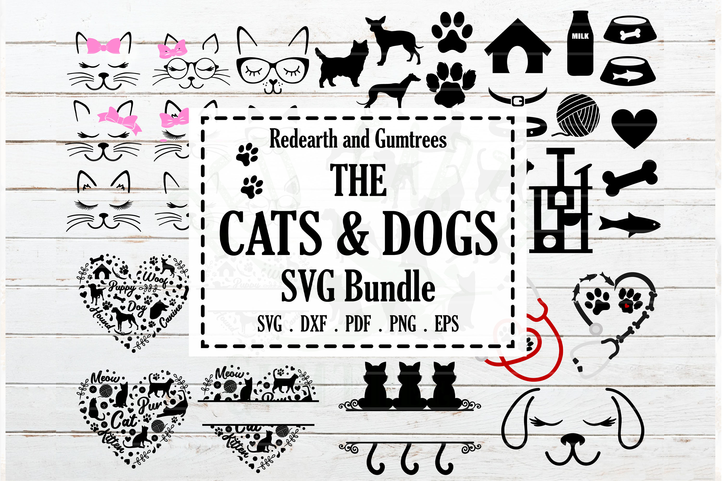 Download Free Cats And Dogs Bundle Graphic By Redearth And Gumtrees Creative for Cricut Explore, Silhouette and other cutting machines.