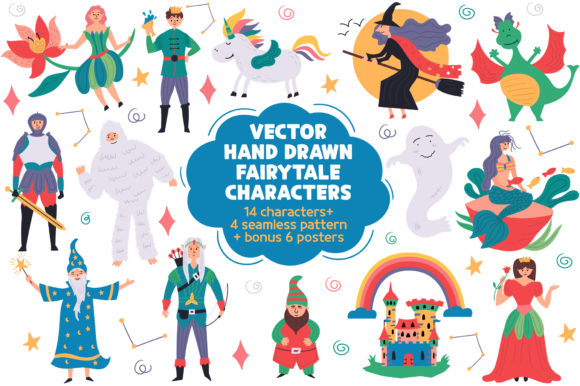 Print on Demand: Children Clipart Fairy Tale Characters Graphic Illustrations By Anka Drozd