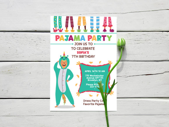 Download Free 1 Pajama Party Invite Designs Graphics for Cricut Explore, Silhouette and other cutting machines.