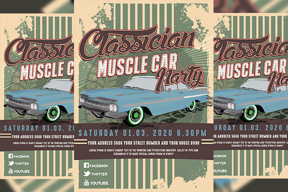 Download Free Classic Car Party Flyer Graphic By Derulostereo Creative Fabrica for Cricut Explore, Silhouette and other cutting machines.