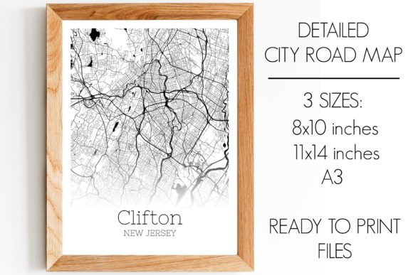 Print on Demand: Clifton New Jersey City Map Graphic Photos By SVGExpress