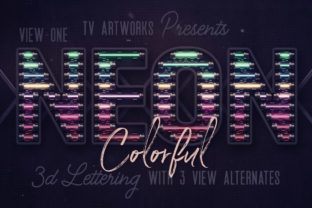 Print on Demand: Colorful Neon 3D Lettering Graphic Scene Generators By tvartworks
