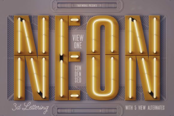Condensed Neon 3D Lettering Graphic Scene Generators By tvartworks