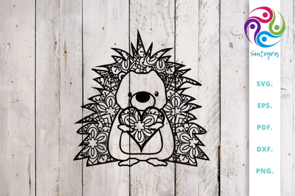 Download Free Cute Hedgehog Out Of Mandala With Heart Graphic By Sintegra for Cricut Explore, Silhouette and other cutting machines.