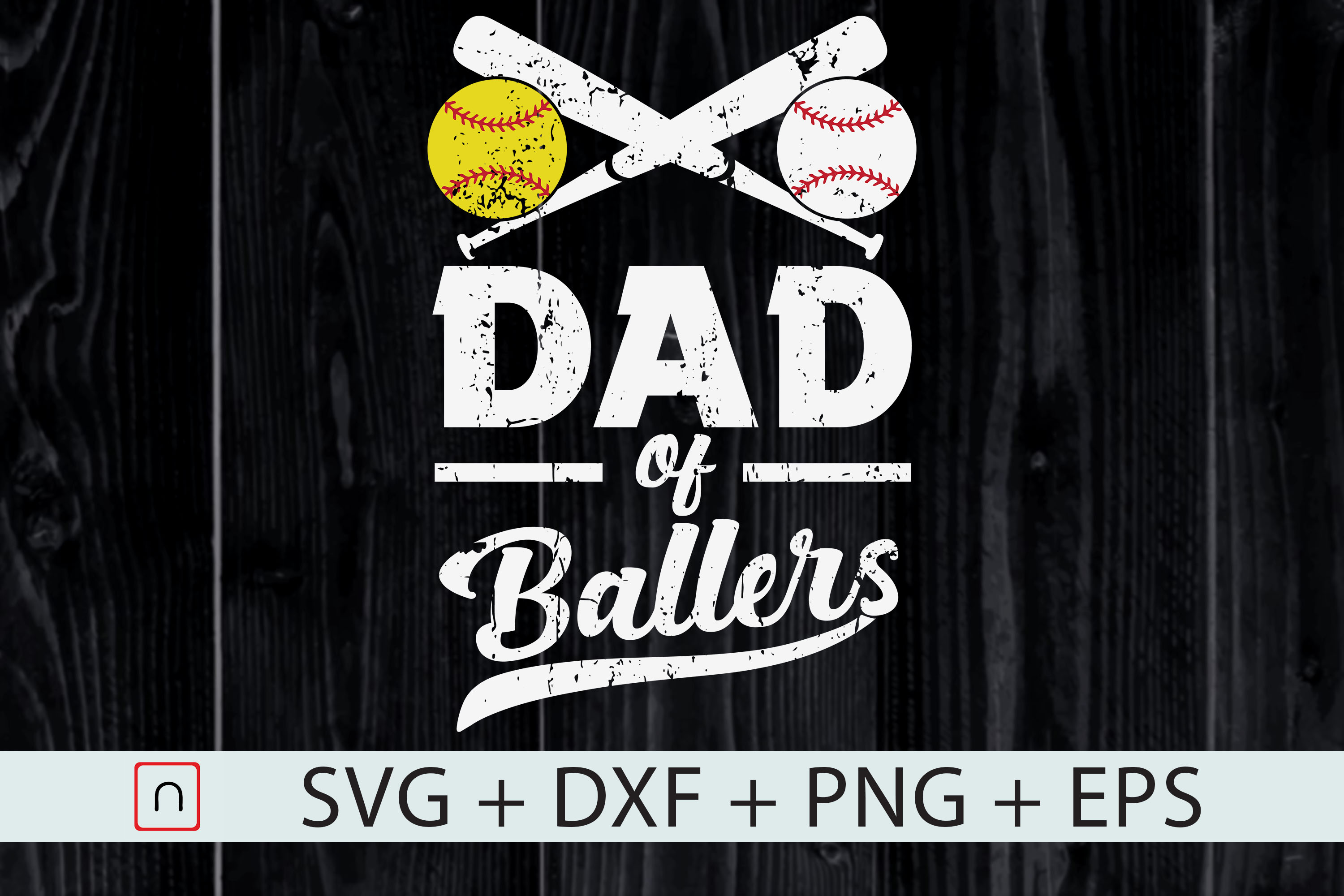 Download Free Dad Of Ballers Graphic By Novalia Creative Fabrica for Cricut Explore, Silhouette and other cutting machines.