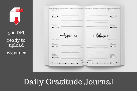 Print on Demand: Daily Gratitude Journal (2)   Graphic KDP Interiors By KDP Template Designs