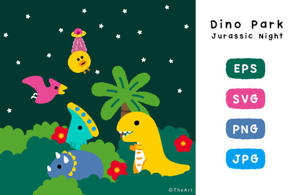Download Free Dino Park Jurassic Night Graphic By Canned Cat Creative Fabrica for Cricut Explore, Silhouette and other cutting machines.