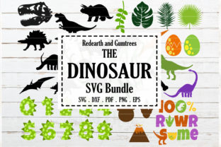 Download Free Dinosaur Theme T Rex Fossil Bundle Graphic By Redearth And for Cricut Explore, Silhouette and other cutting machines.
