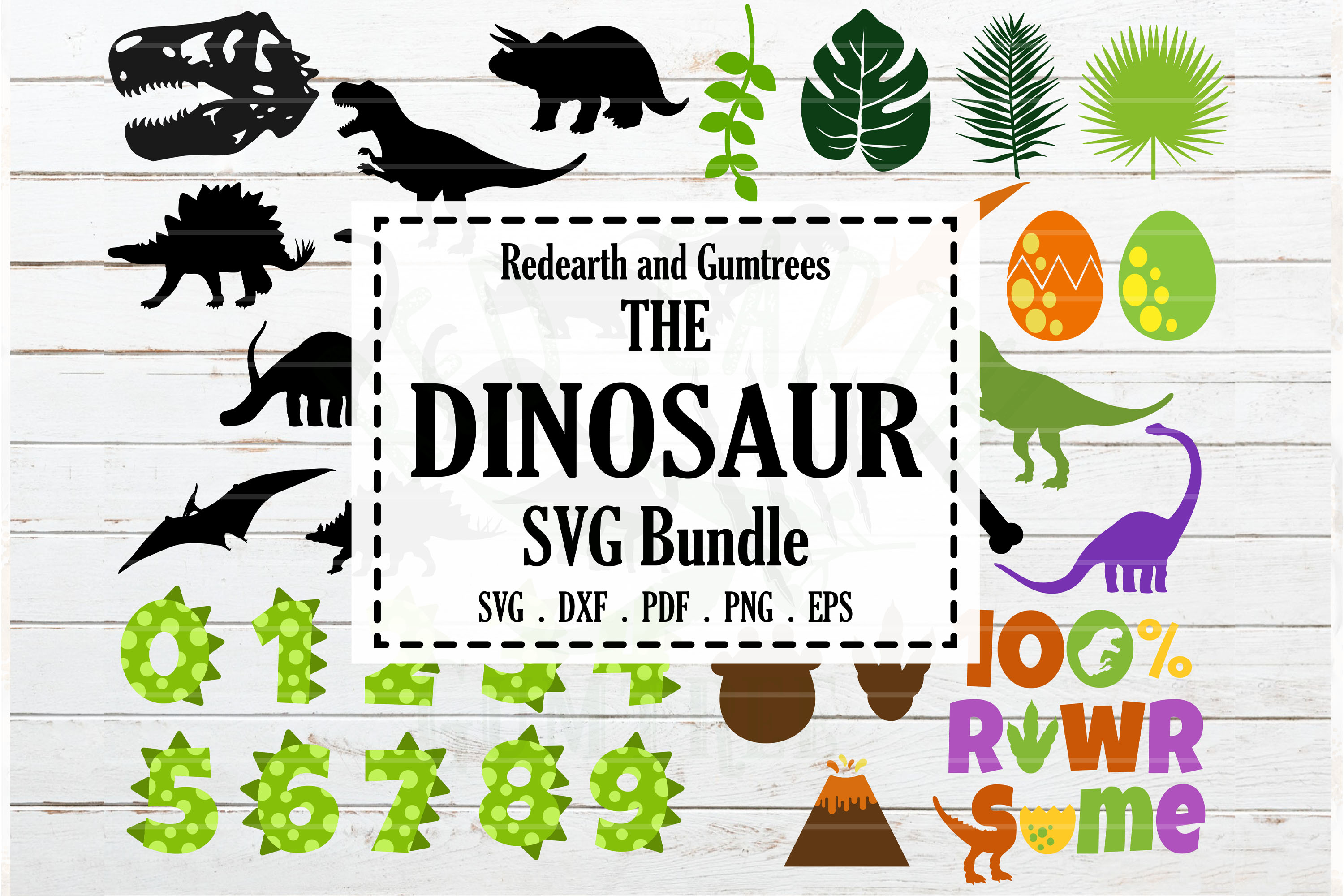 Download Free Dinosaur Theme T Rex Fossil Bundle Graphic By Redearth And SVG Cut Files