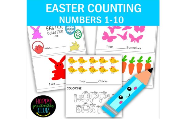 Download Free Easter Number Counting 1 10 Kindergarten Graphic By Happy for Cricut Explore, Silhouette and other cutting machines.