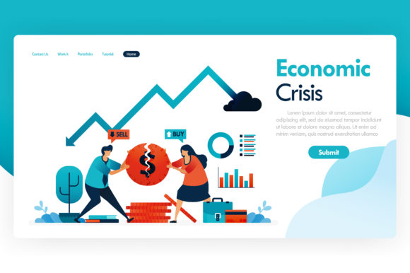 Print on Demand: Economic Crisis with Falling GDP Graphic Graphic Templates By setiawanarief111
