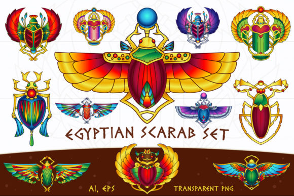 Download Free Egyptian Vector Scarab Set Graphic By Pixaroma Creative Fabrica for Cricut Explore, Silhouette and other cutting machines.