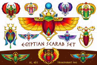 Egyptian Vector Scarab Set Graphic Illustrations By pixaroma