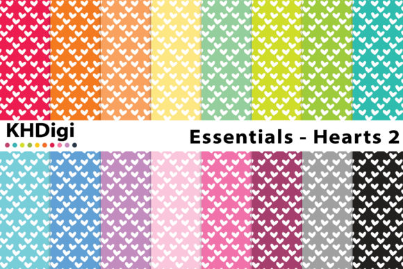 Download Free Essentials Hearts Digital Paper Graphic By Khdigi Creative for Cricut Explore, Silhouette and other cutting machines.
