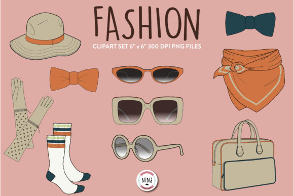 Fashion Clipart, Sunglasses, Bow Clipart Graphic Patterns By Nina Prints