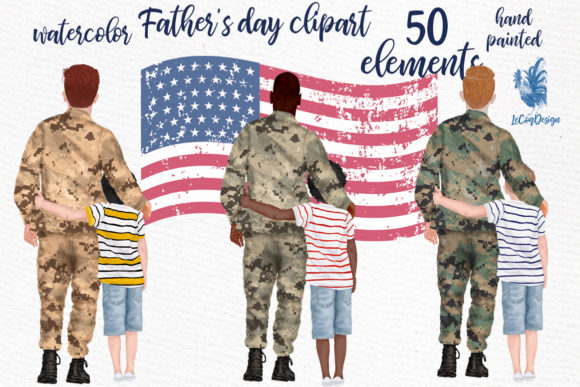 Father and Son Father's Day Clipart Grafik Illustrationen von LeCoqDesign