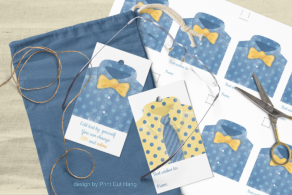 Print on Demand: Father's Day Tags Templates Man Shirts Graphic Print Templates By print.cut.hang