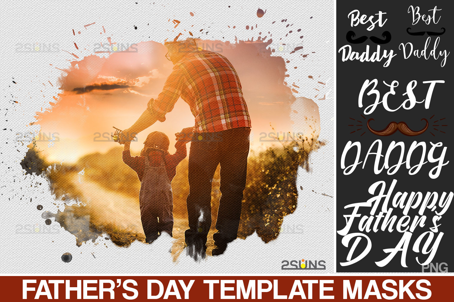 Download Free Father S Day Watercolor Template Graphic By 2suns Creative Fabrica for Cricut Explore, Silhouette and other cutting machines.
