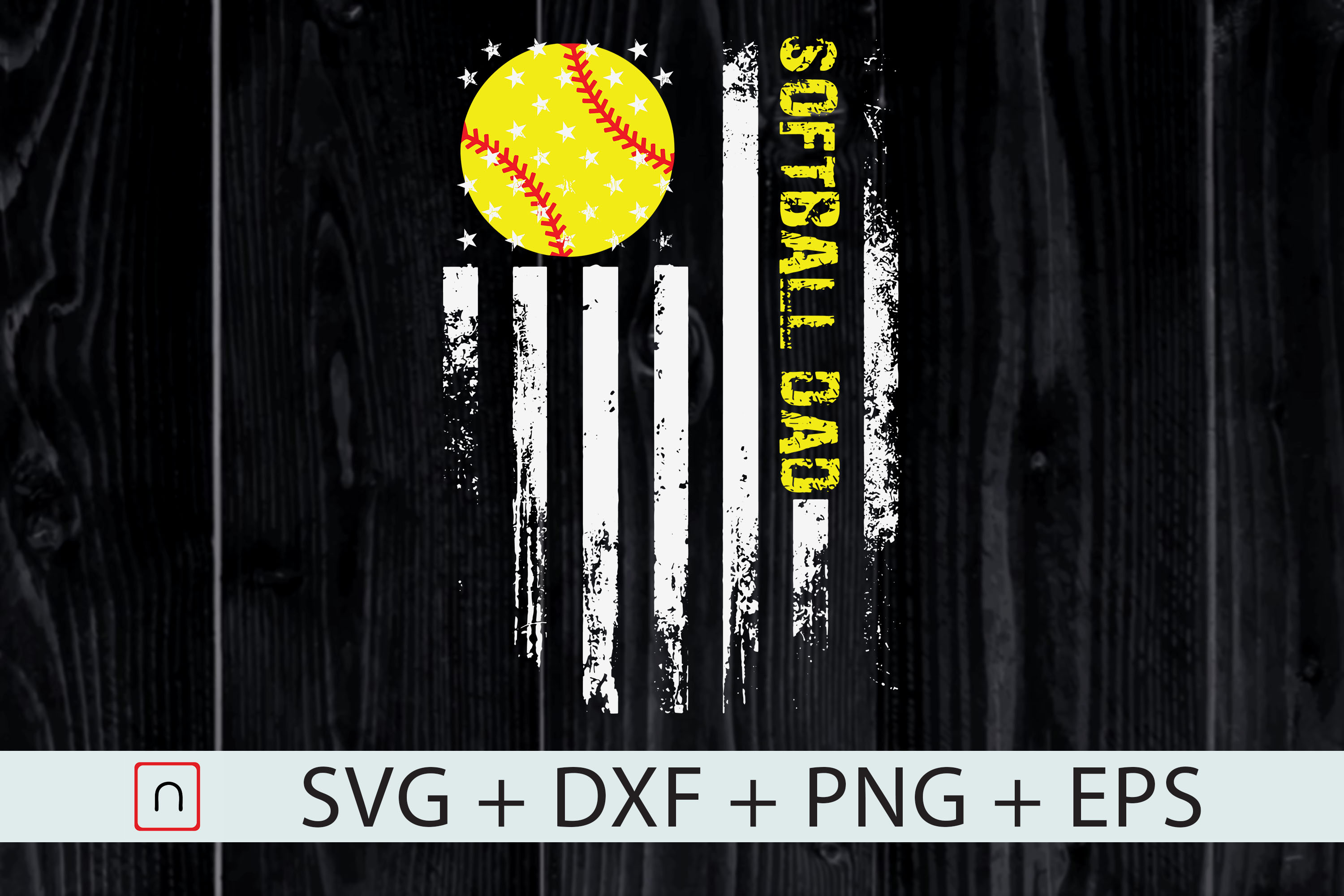 Download Free Father S Day Softball Dad Us Flag Graphic By Novalia Creative for Cricut Explore, Silhouette and other cutting machines.