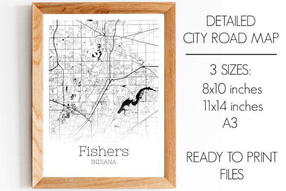 Print on Demand: Fishers Indiana City Map Graphic Photos By SVGExpress