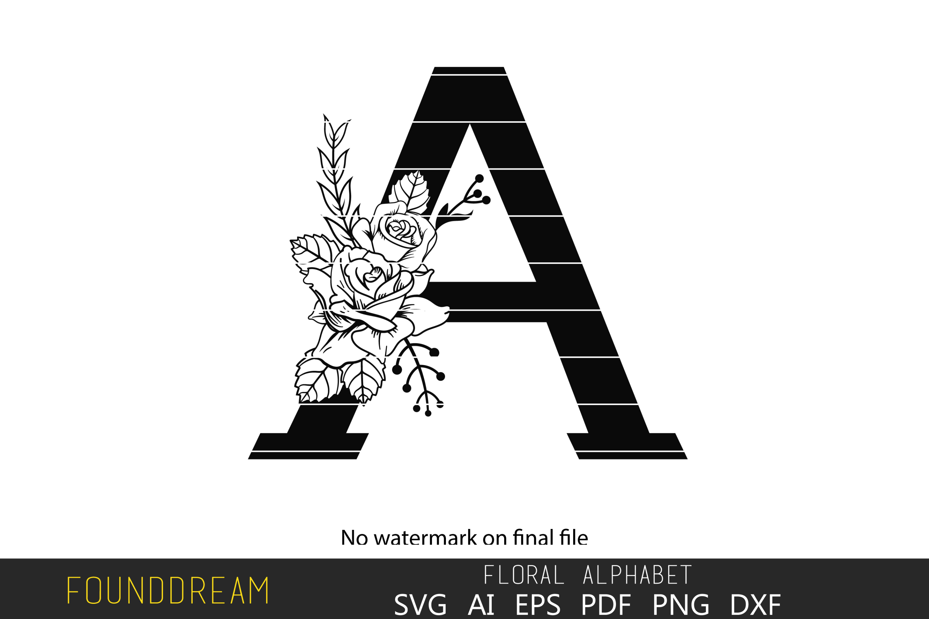 Download Free Floral Alphabet A Letter Graphic By Foundream Creative Fabrica for Cricut Explore, Silhouette and other cutting machines.