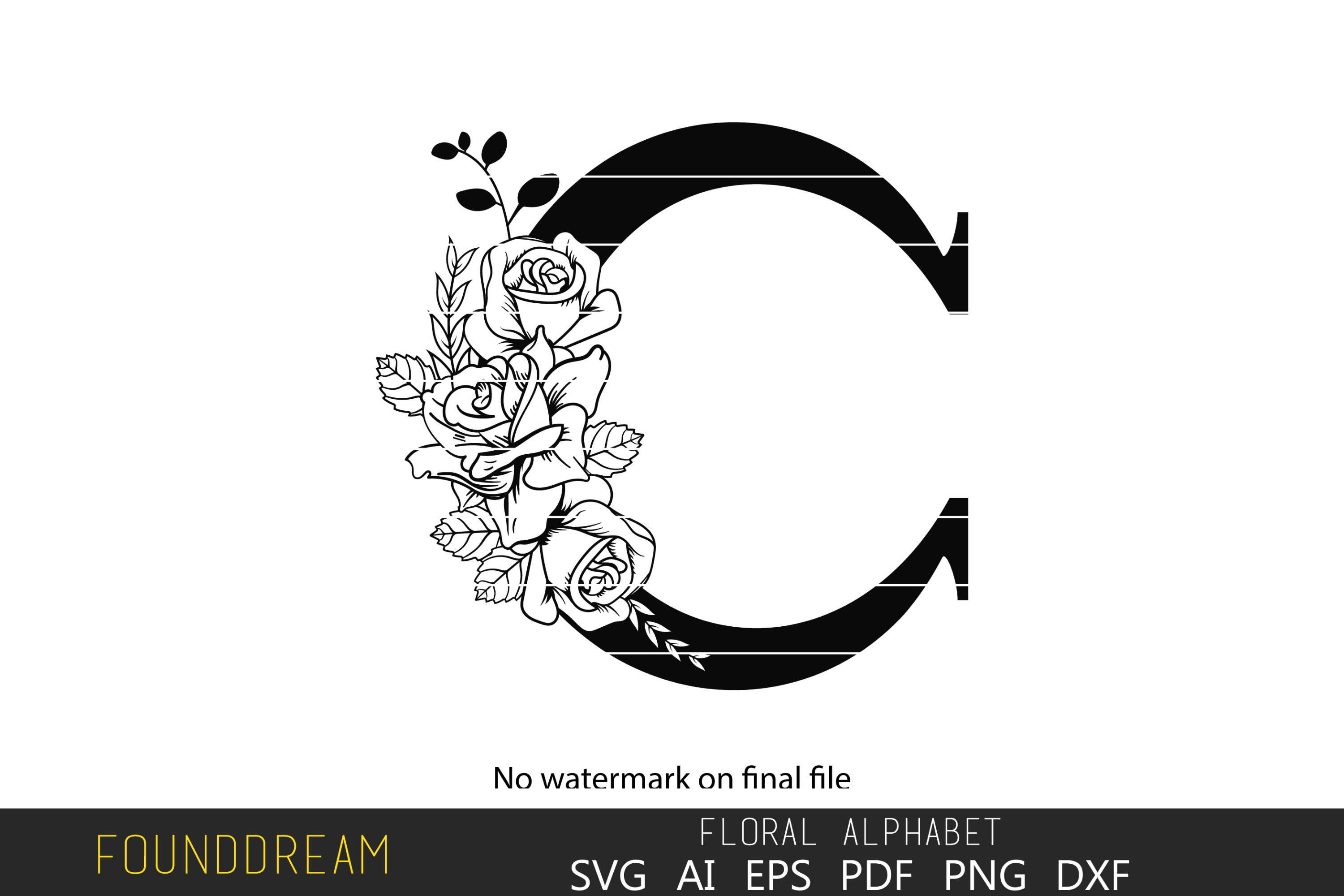 Download Free Floral Alphabet C Letter Graphic By Foundream Creative Fabrica for Cricut Explore, Silhouette and other cutting machines.