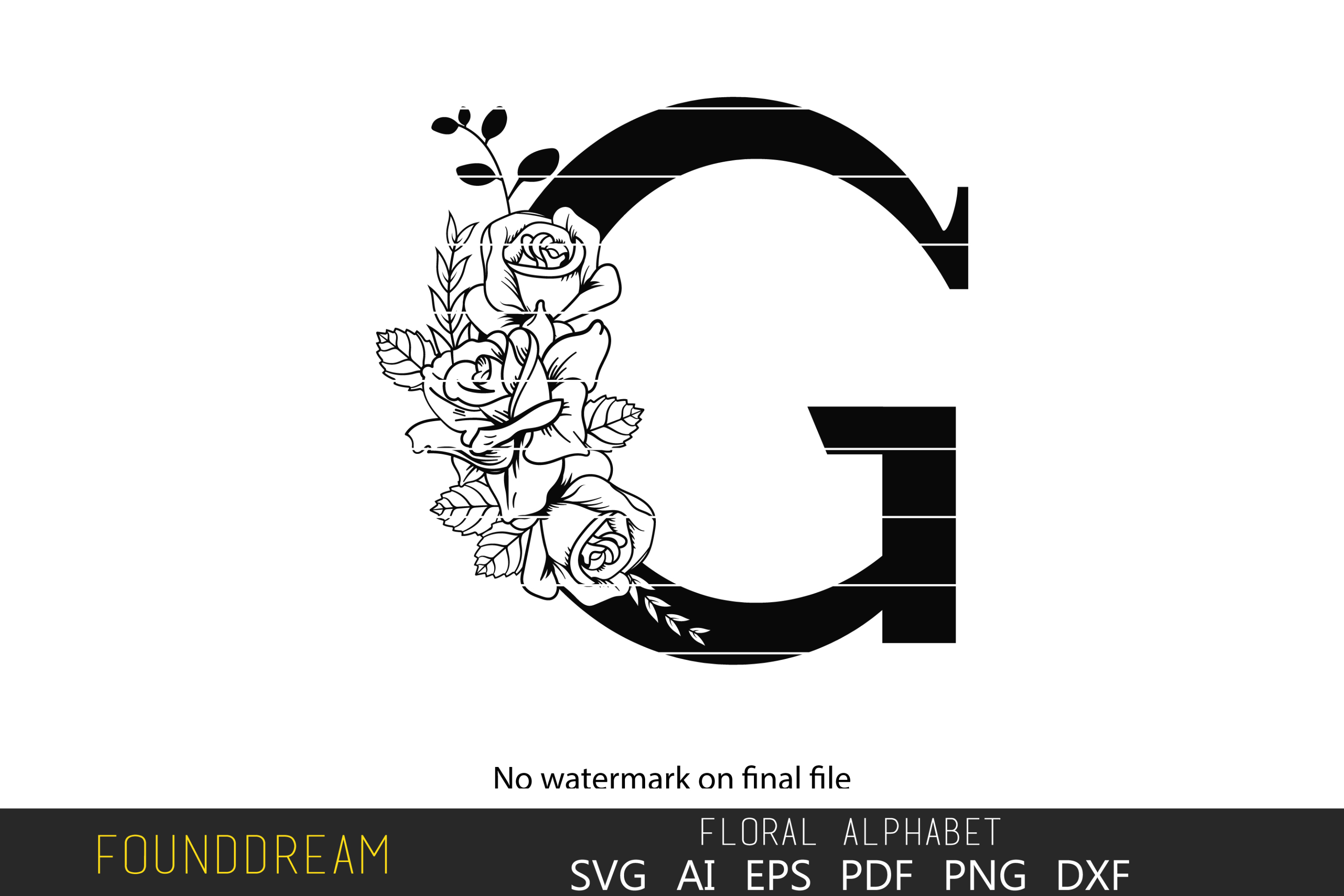 Download Free Floral Alphabet G Letter Graphic By Foundream Creative Fabrica for Cricut Explore, Silhouette and other cutting machines.
