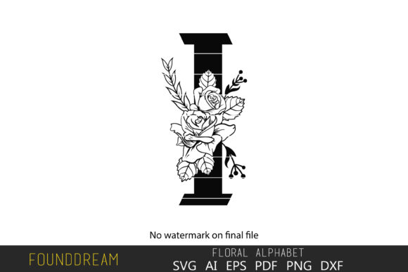Print on Demand: Floral Alphabet, I Letter Graphic Crafts By FounDream
