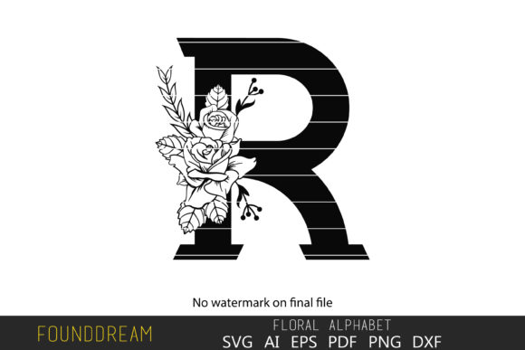 Download Free Floral Alphabet R Letter Graphic By Foundream Creative Fabrica for Cricut Explore, Silhouette and other cutting machines.