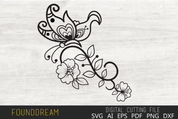 Download Free Floral Butterfly File Graphic By Foundream Creative Fabrica for Cricut Explore, Silhouette and other cutting machines.