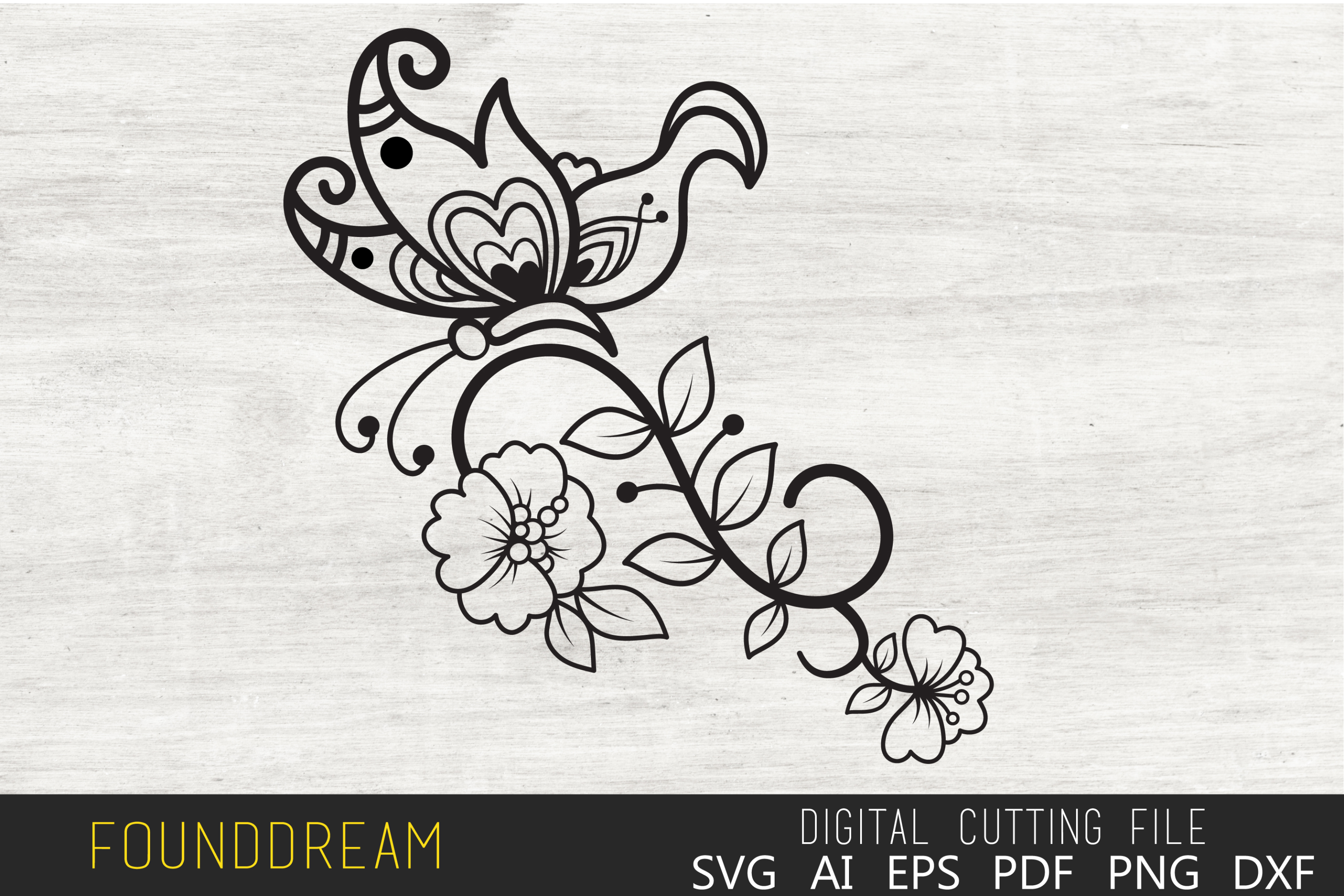 Download Free Floral Butterfly File Graphic By Foundream Creative Fabrica SVG Cut Files