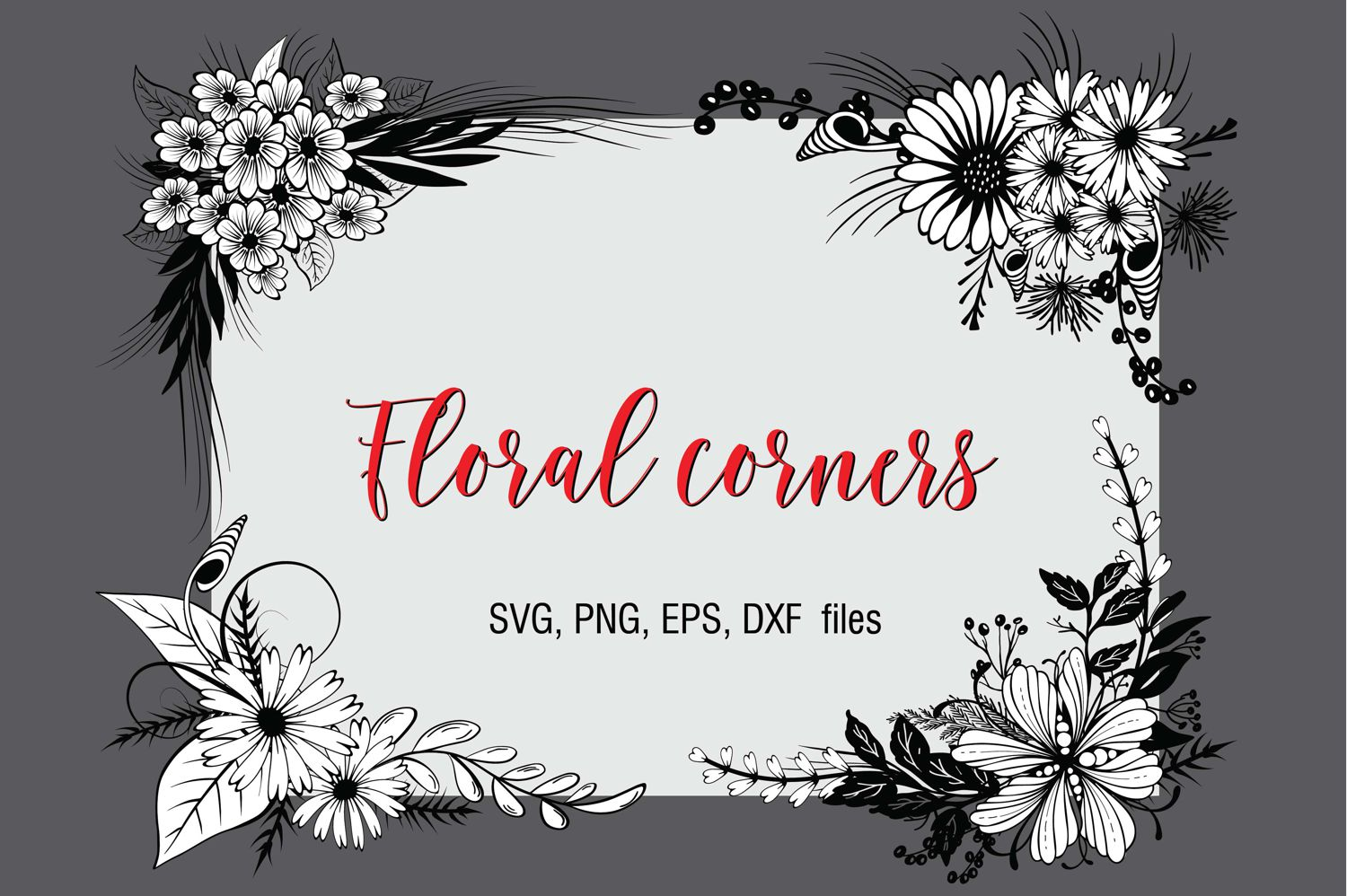 Download Free Floral Corners Graphic By Eva Barabasne Olasz Creative Fabrica for Cricut Explore, Silhouette and other cutting machines.