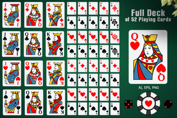 Full Deck of 52 Playing Cards Graphic Illustrations By pixaroma