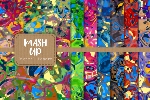 Print on Demand: Funky Abstract Mash Up Digital Papers Graphic Backgrounds By Prawny