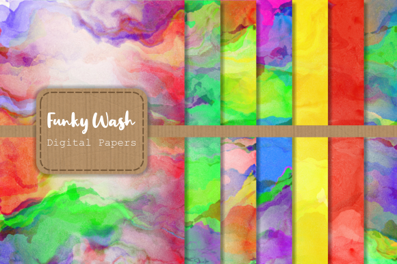 Print on Demand: Funky Wash Watercolor Papers Graphic Backgrounds By Prawny