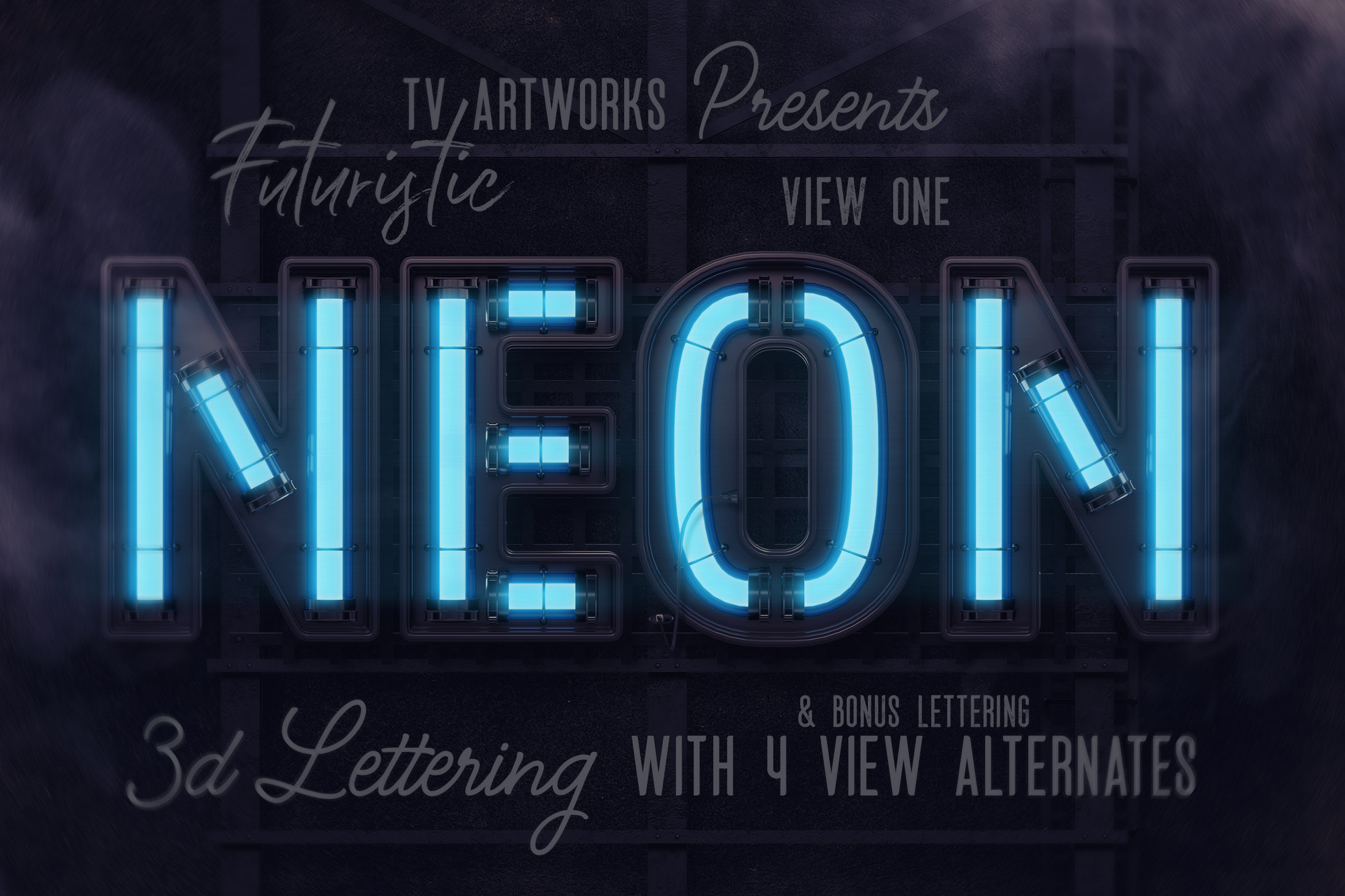 Download Free Futuristic Neon 3d Lettering Graphic By Tvartworks Creative for Cricut Explore, Silhouette and other cutting machines.