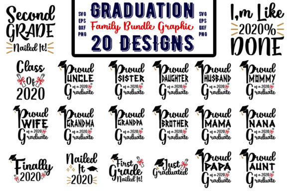 Download Free Graduation Family Bundle Graphic Graphic By Design Store for Cricut Explore, Silhouette and other cutting machines.